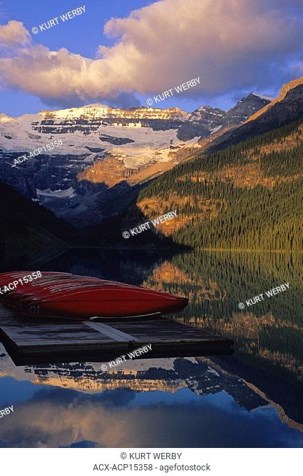 Lake Louise and canoes in the early morning at sunrise Banff National Park, Alberta, Canada