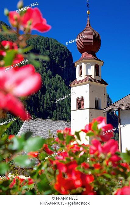 View to church, Canazei, Val di Fassa, Trentino-Alto Adige, Italy, Europe