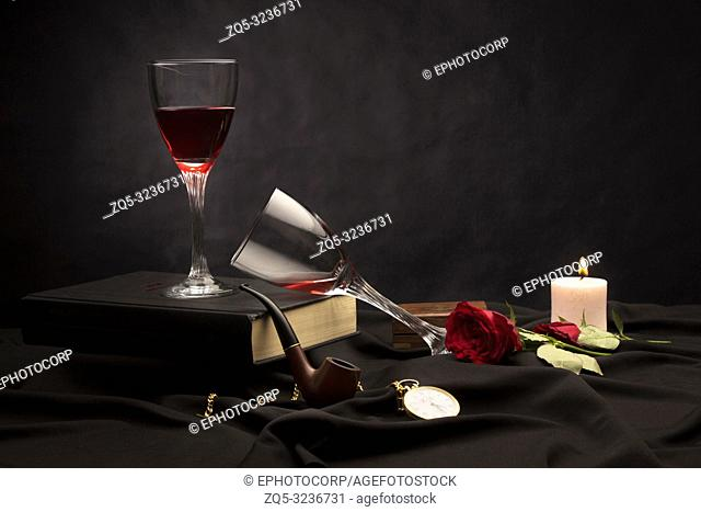 Glassware and product, still life on a black background, Pune, India