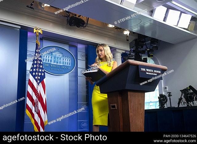 White House Press Secretary Kayleigh McEnany departs after speaking during a news conference in the James S. Brady Press Briefing Room at the White House in...