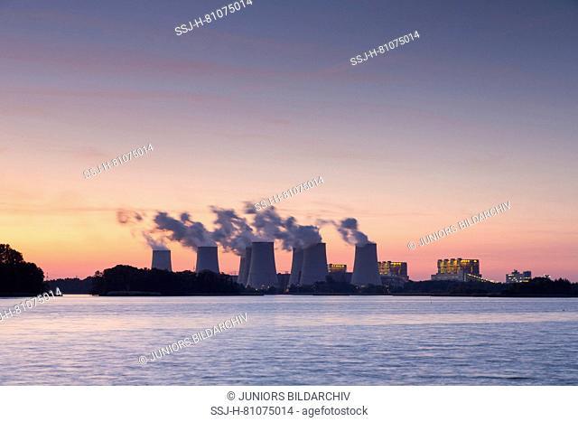 Jaenschwalde lignite-fired power station in evening light. Brandenburg, Germany