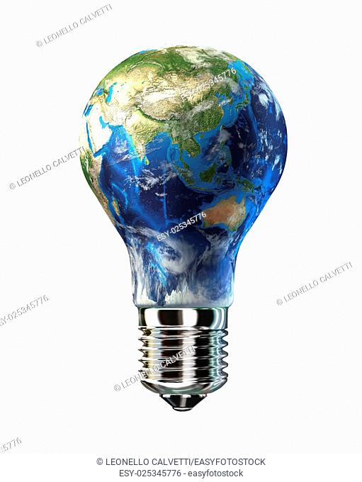 Light bulb with planet Earth in place of glass. Asia view. On white background. Clipping path included