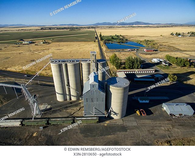 Aerial view of a grain elevator where wheat is stockpiled for later use in Creston, Washington