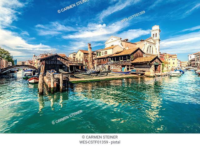Italy, Venice, gondola shipyard at Rio di San Trovaso