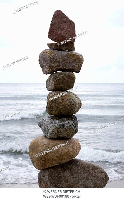 Germany, Mecklenburg-Vorpommern, Island Ruegen, Pile of stones, close-up
