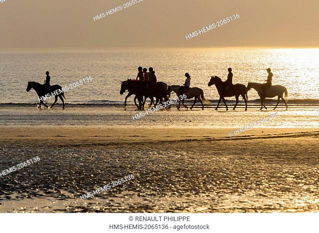 France, Calvados, Deauville, the beach, sunset, horseback riders