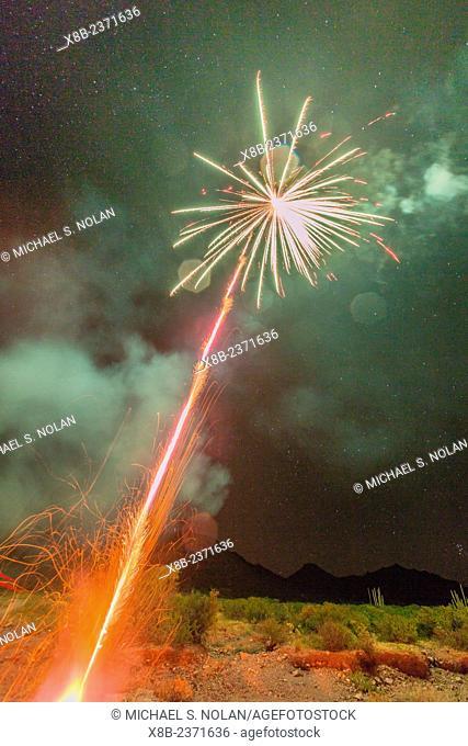 Fireworks at night, Himalaya Beach, Sonora, Mexico