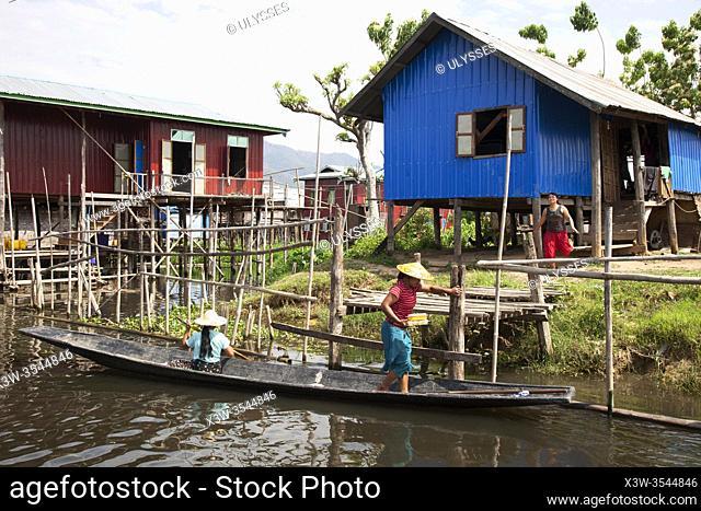 Houses on stilts, Maing Thauk village, Inle lake, state of Shan, Myanmar, Asia
