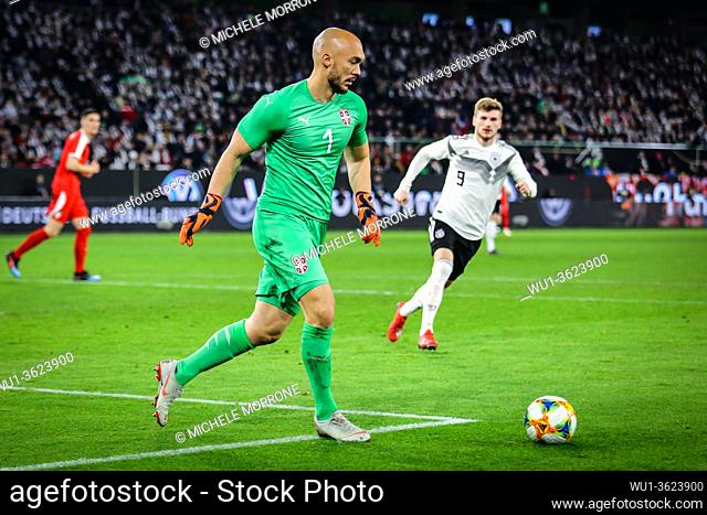 Wolfsburg, Germany, March 20, 2019: Serbia national team goalkeeper Marko Dmitrovic in action during the international friendly game between Germany and Serbia...