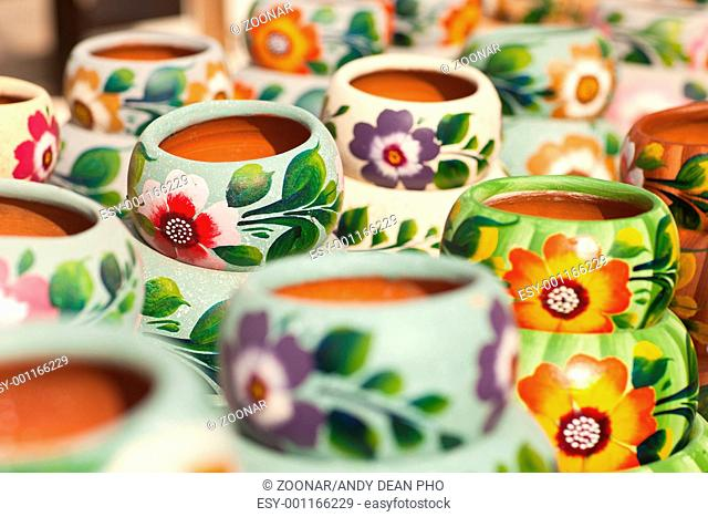 Variety of Colorfully Painted Ceramic Pots