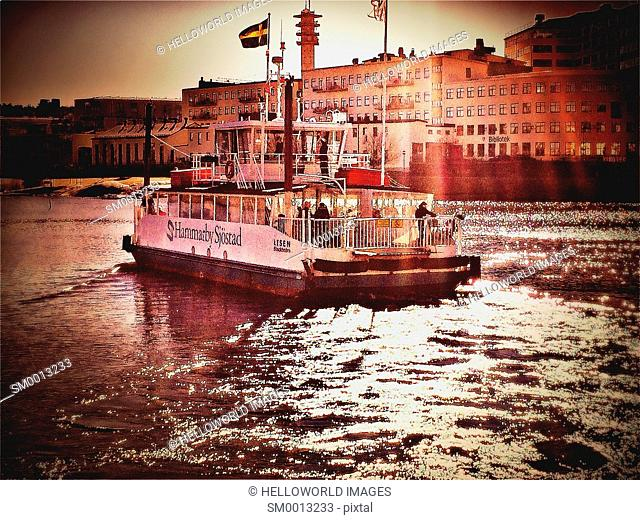 Ferry boat on Hammarby Lake, Sodermalm, Stockholm, Sweden, Scandinavia