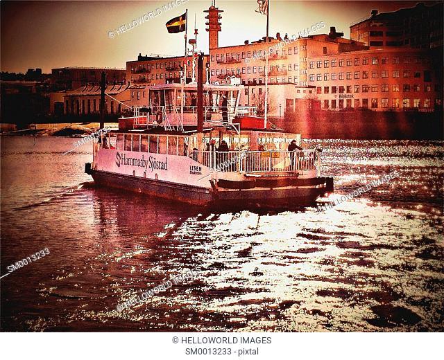 Ferry boat on Hammarby Lake, Sodermalm, Stockholm, Sweden, Scandinavia