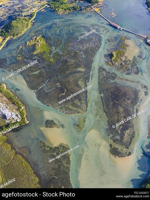 Aerial View, Marisma de Joyel, Isla, Arnuero Municipality, Marismas de Santoña, Victoria y Joyel Natural Park, Cantabria, Cantabrian Sea, Spain, Europe