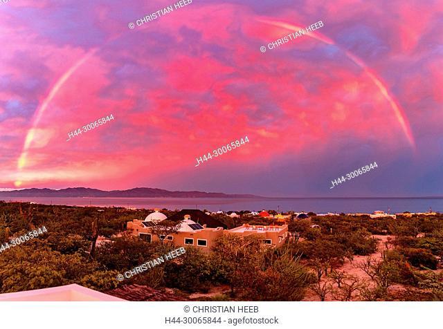 Mexico, Mexican, Sea of Cortez, Baja California Sur, El Sargento, rainbow over El Sargento