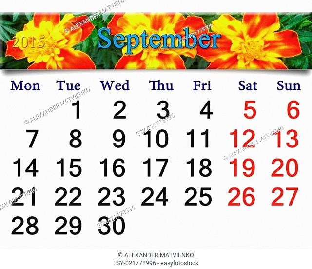 calendar for September of 2015 with tagetes