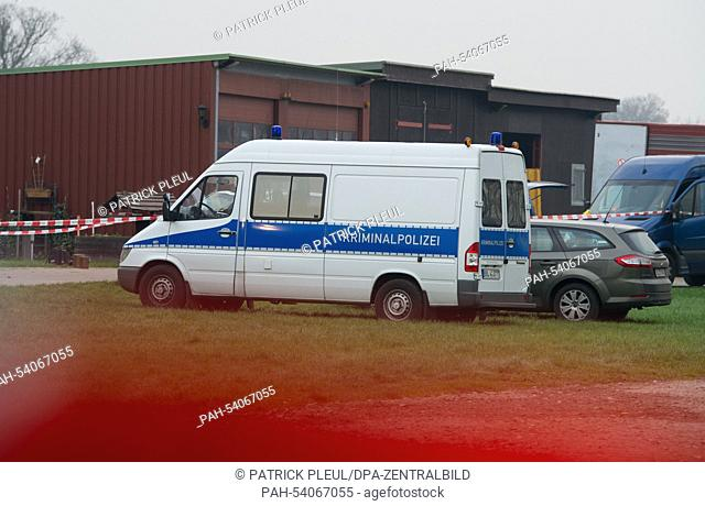 A view of the site cordoned off by police in the Spreewald town of NeuLuebbenau,Germany, 04 December 2014. A deadly reltionship drama has alledgedly played...