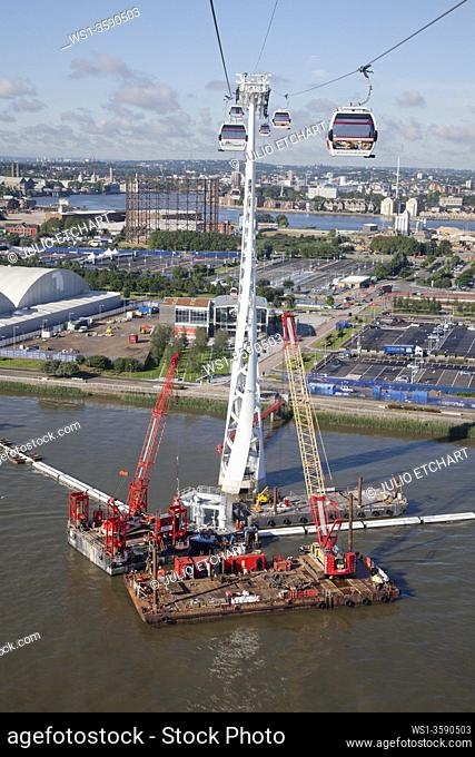 Emirates Air Line cable car in Docklands, servicing the east end of London, England, UK