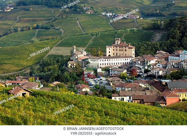 View over town of Barolo in the Langhe Region of Piemonte, Italy