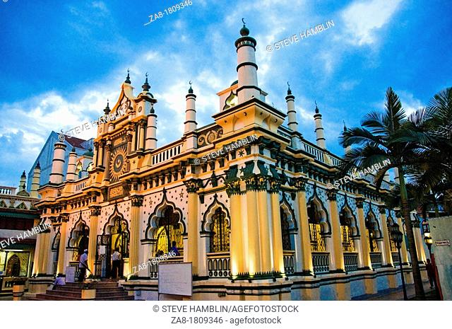Exterior of Masjid Abdul Gafoor Mosque in Little India area of Singapore
