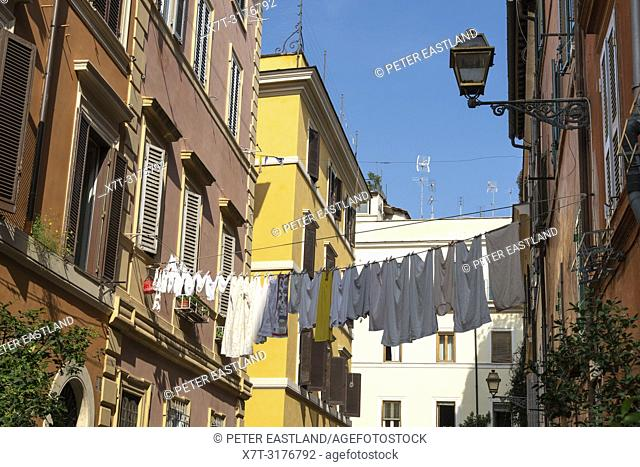 Traditional, Colourful houses in the Trastevere district of Rome, central Italy