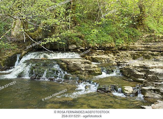 Gandara Creek and Las Pisas Waterfall, Villabascones, Las Merindades County, province of Burgos, Castilla y Leon, Spain