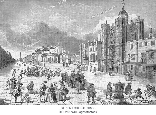 View of St James's Palace, Westminster, London, at the time of Queen Anne, c1710 (1878). Artist: Unknown