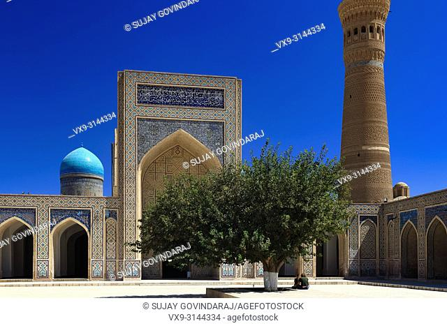 Bukhara, Uzbekistan - August 27, 2016: The inner court yard of Kalyan Mosque, was built in 1127 CE, part of Poi Kalyan Complex