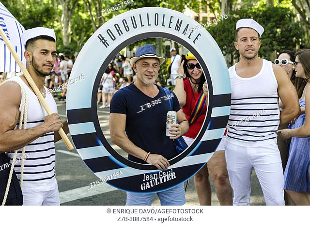 Madrid, Spain, 7 th July 2018. Gay pride parade with participants in Cibeles square, 7 th July 2018, Madrid