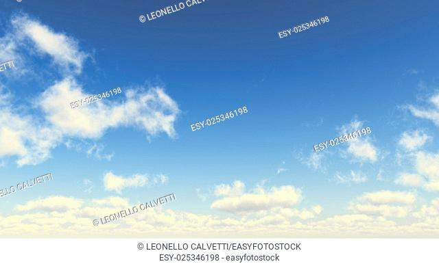 Blue sky with fluffy white clouds. Wide format. Computer generated Image