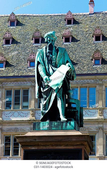 Johannes Genfleisch zu Gutenberg statue by David d'Angers, 1840, Strasbourg, Alsace, France