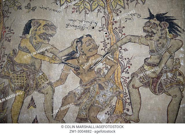 Hindu-inspired Kamasan-style painting (from the Ramayana / Mahabharata epics), Klungkung Palace (officially Puri Agung Semarapura, also called Kertha Gosa
