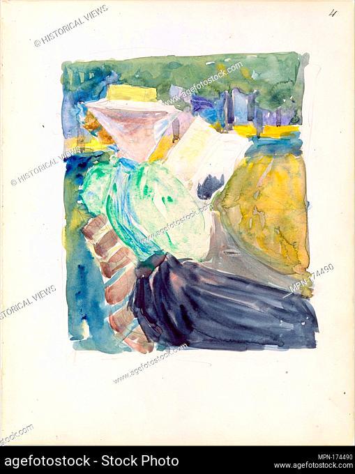 Large Boston Public Garden Sketchbook: A woman reading in the park. Artist: Maurice Brazil Prendergast (American, St. John's