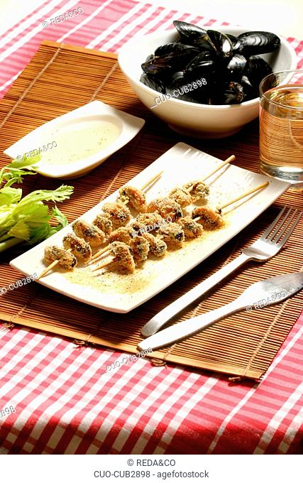 Skewers with mussel, Italy