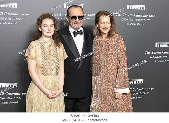 Italian photographer Paolo Roversi with his partner and Stella Roversi during the presentation of the Pirelli 2020 Calendar at the Verona Philharmonic Theater