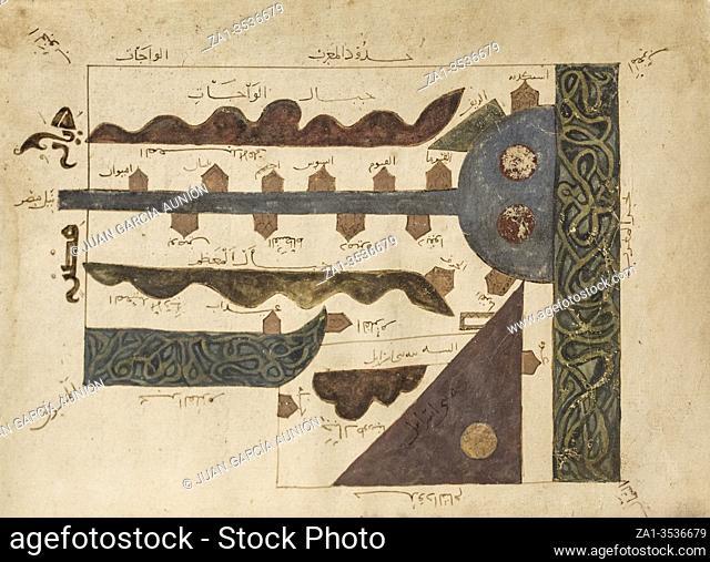 Dublin, Ireland - Feb 20th, 2020: 11th Century Map of Egypt, Suwar Al-Aqlim, by Abu Ishaq Ibrahim ibn Muhammad al-Farisi al-Istakhri