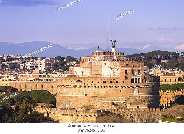 Castel Sant'Angelo (Castle of Holy angel) at golden hour. seen from Janiculum hill, Rome. Lazio. Italy
