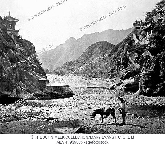 'The Nankow Pass'. 'A bold, rocky defile, separating China proper from the lands of the barbarians beyond. On the left, a picturesque little edifice dedicated...