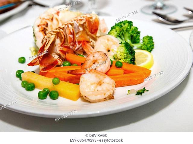 Gourmet Dinner of Lobster Tail, Shrimp and Broccoli