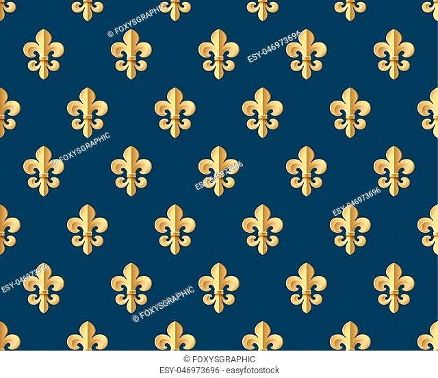 Seamless gold pattern with fleur-de-lys on a dark blue background. Vector Illustration