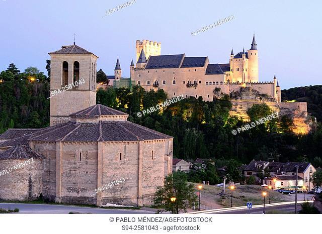 View of Veracruz church and Alcazar of Segovia, Spain