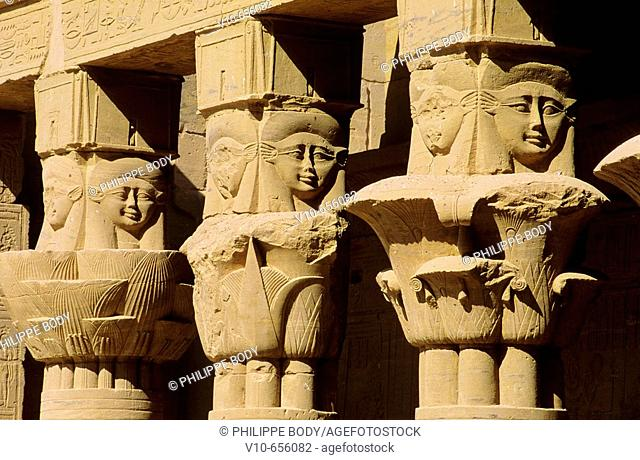 Chapitaux Hathoric chapiter (Hathor goddess), Temple of Philae, Aswan, Egypt