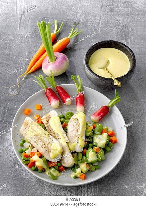 Hake Aïoli with vegetables