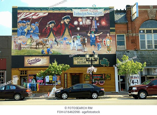 Ludington, MI, Michigan, Lake Michigan, Historic Downtown, wall mural, Freedom Festival