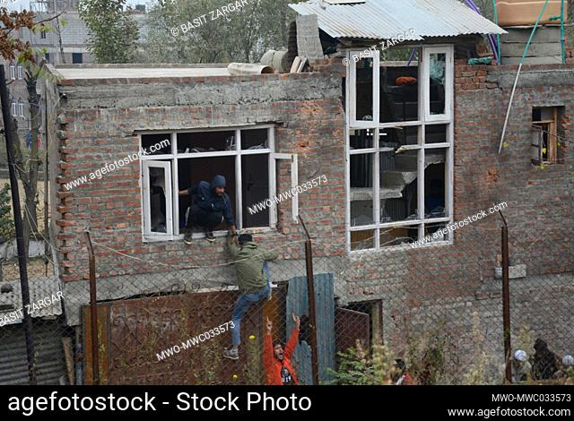 A house damaged during attacks. Hizbul Mujahideen's chief operational commander Saifullah has been killed in an encounter at Rangreth area in Srinagar