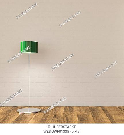 Floor lamp in sparse room, 3d rendering