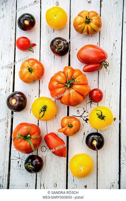 Different heirloom tomatoes on white wood