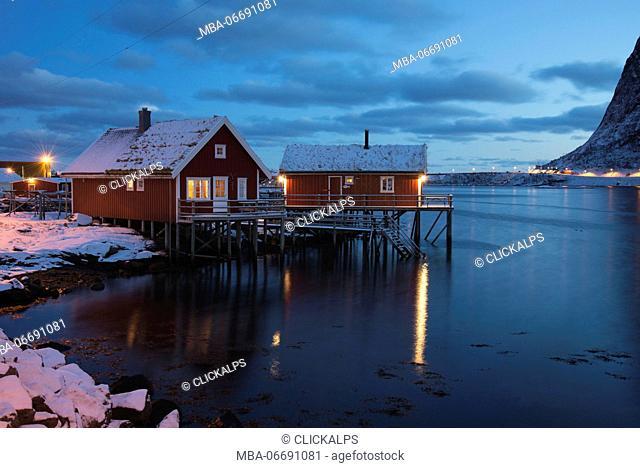 Rorbuer in the Reine fiord, Lofoten Islands, Norway, Europe