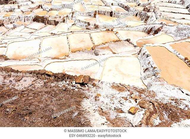 The salt evaporation pond at Maras (Salinas de Maras) near Cusco, Peru