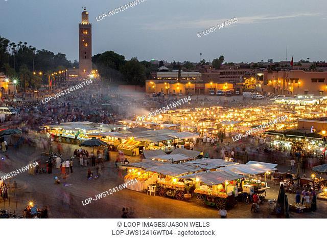 Dusk over Jemaa el Fna in Marrakesh