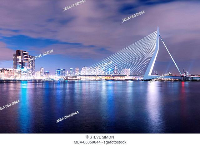 Erasmus Bridge in the evening in Rotterdam